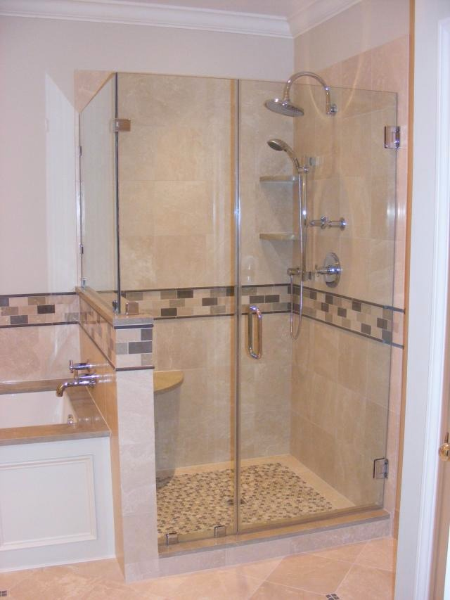 Shower Stall Installation on marble bathroom remodeling